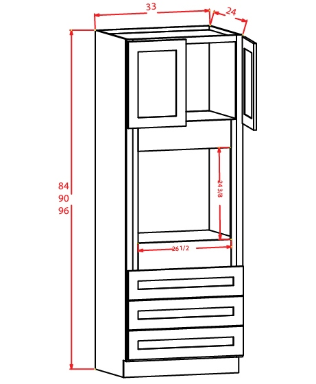O339624 Universal Oven Cabinet 33 inch by 96 inch by 24 inch Shaker Gray