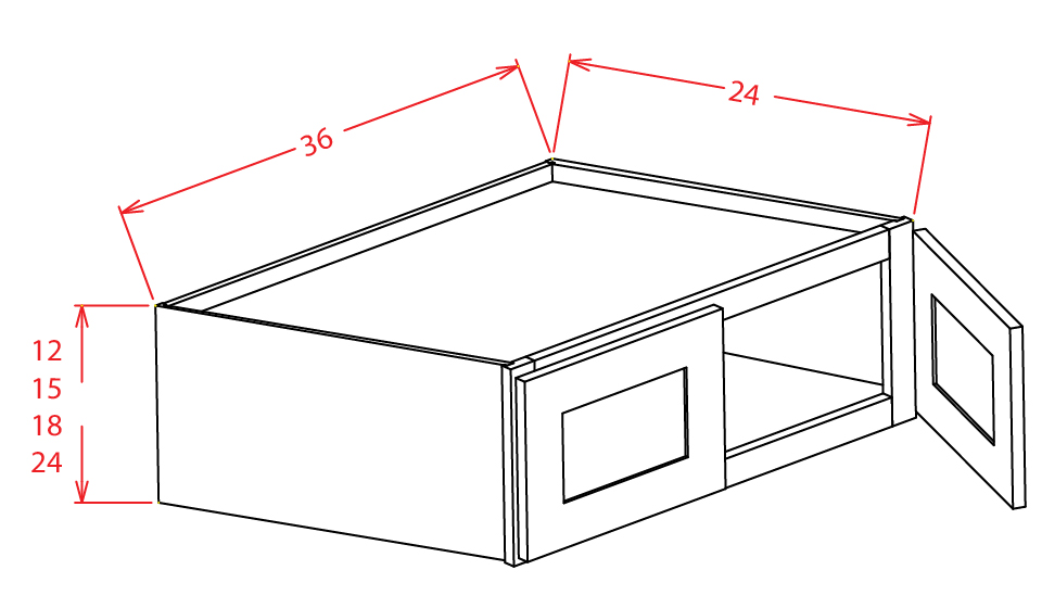 W361224 Bridge Cabinet 36 inch by 12 inch by 24 inch Shaker Gray