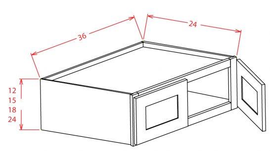 W361524 Bridge Cabinet 36 inch by 15 inch by 24 inch Shaker Gray