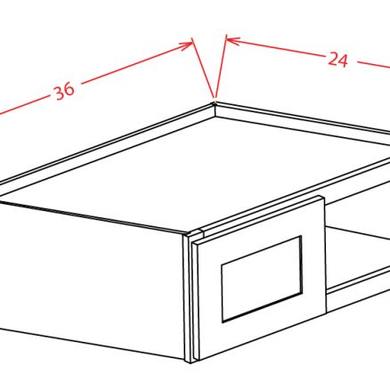 W362424 Bridge Cabinet 36 inch by 18 inch by 24 inch Shaker Gray