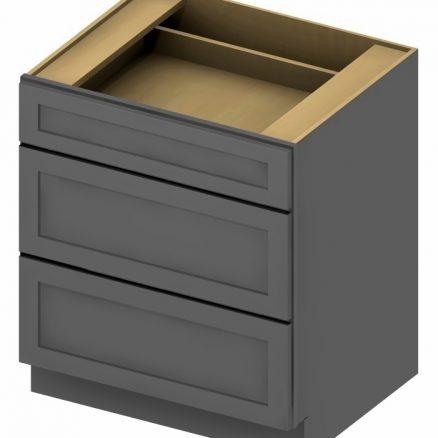 3DB36 3 Drawer Base Cabinet 36 inch Shaker Gray
