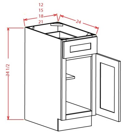 B12 Base Cabinet 12 inch Shaker Gray