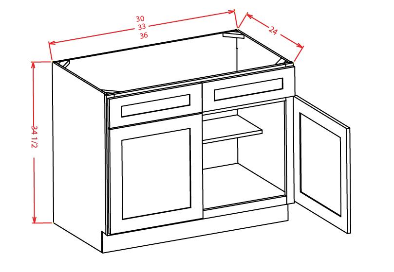 SB33 Sink Base Cabinet 33 inch Shaker Gray