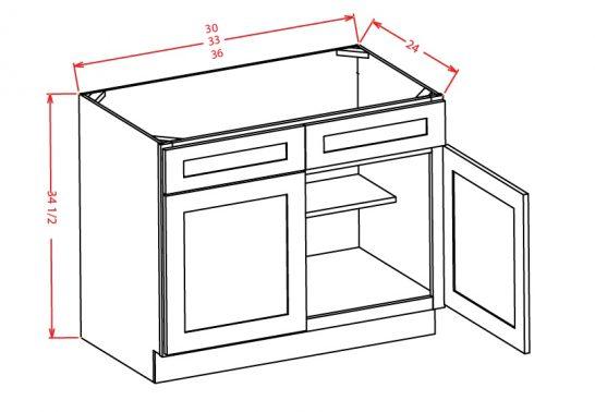 SB36 Sink Base Cabinet 36 inch Shaker Gray