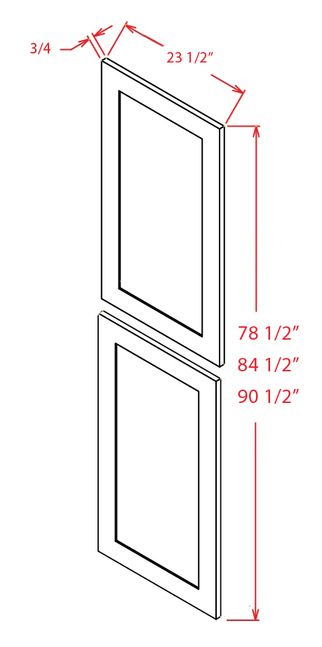 TDEP2490 Tall Decorative End Panel 24 inch by 90 inch Shaker Gray
