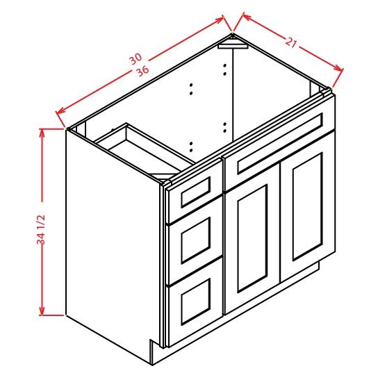 V3021DL Vanity Base Cabinet 30 inch Left Drawers Shaker Gray