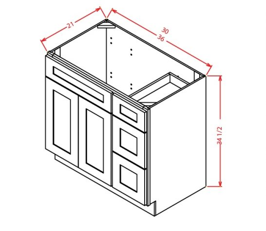 V3621DR Vanity Base Cabinet 30 inch Right Drawers Shaker Gray