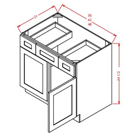 VSD42 Vanity Sink Drawer Base Cabinet 42 inch Shaker Gray