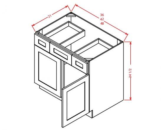 VSD42 Vanity Sink Drawer Base Cabinet 42 inch Shaker Gray