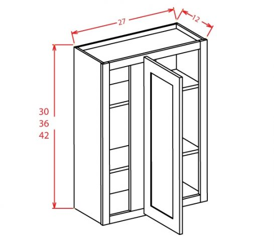 WBC2736 Wall Blind Cabinet 27 inch by 36 inch Shaker Gray