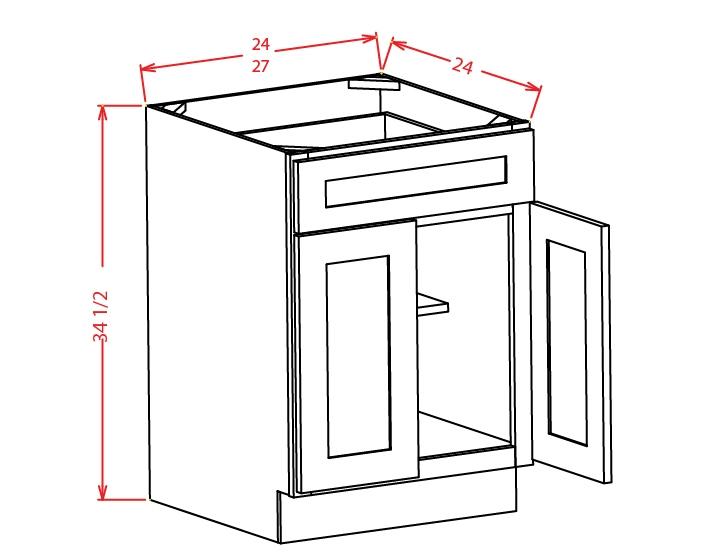 B24 Base Cabinet 24 inch Shaker Antique White