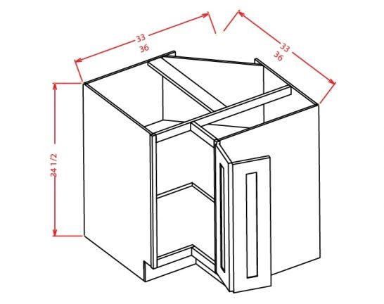 BER33 Base Easy Reach Cabinet 33 inch Shaker Antique White