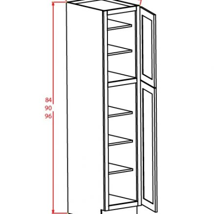 U189024 Wall Pantry Cabinet 18 inch by 90 inch by 24 inch Tacoma White