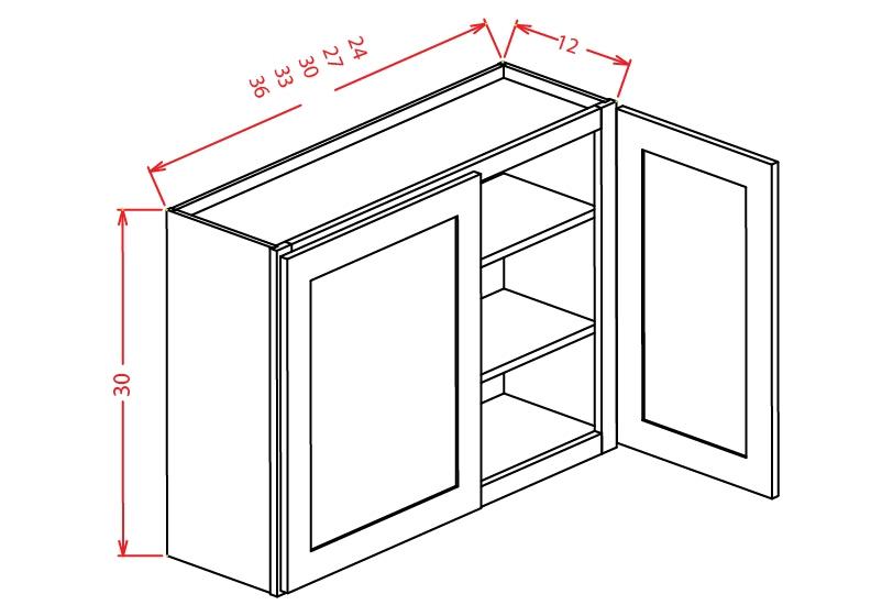 W2430 Wall Cabinet 24 inch by 30 inch Shaker Dusk