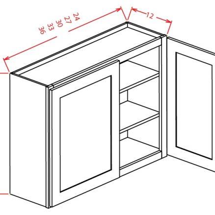 W3330 Wall Cabinet 33 inch by 30 inch Shaker Dusk