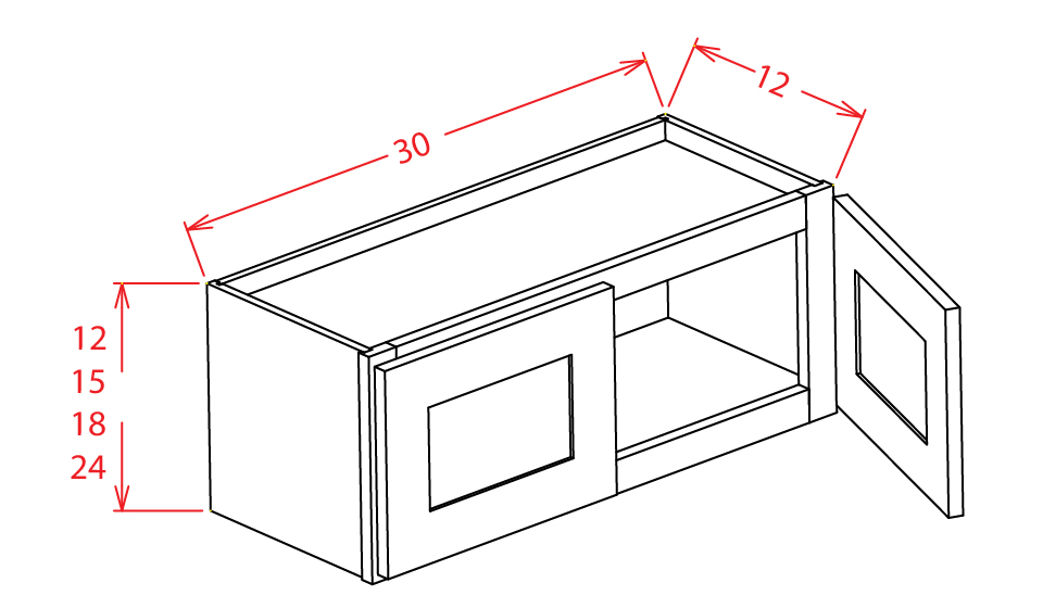 W3012 Bridge Cabinet 30 inch by 12 inch Tacoma White