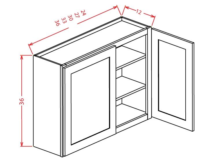 W3336 Wall Cabinet 33 inch by 36 inch Shaker Dusk