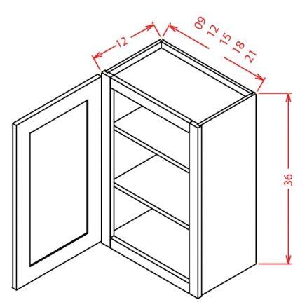 W0936 Wall Cabinet 9 inch by 36 inch Shaker Dusk