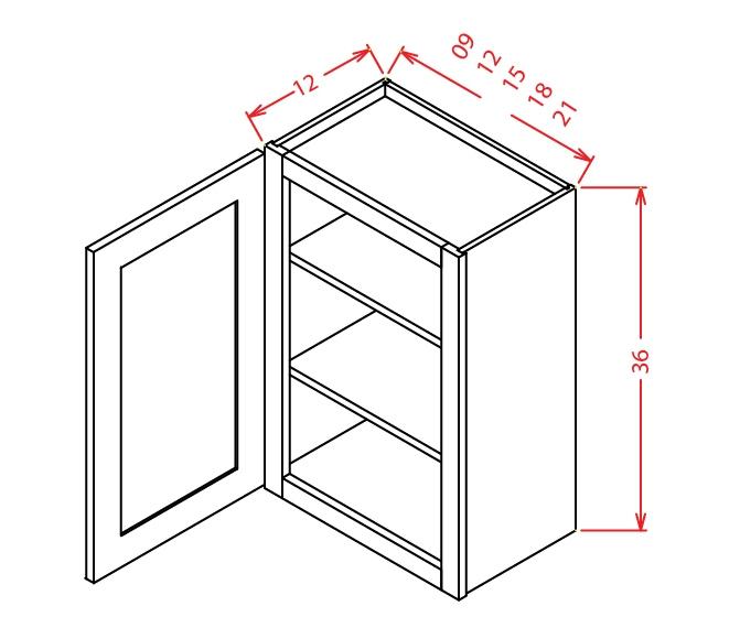 W1236 Wall Cabinet 12 inch by 36 inch Shaker Dusk