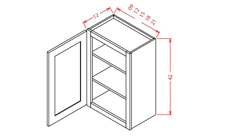 W1242 Wall Cabinet 12 inch by 42 inch Shaker Dusk