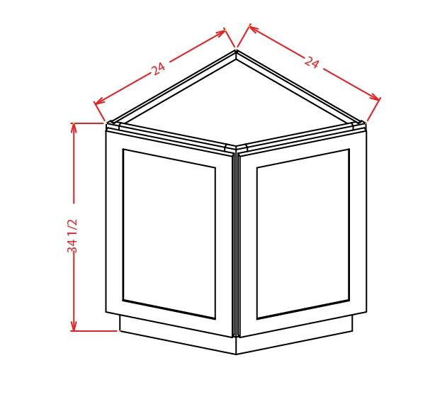 BEC24 Angle Base End Cabinet 24 inch Shaker Dusk