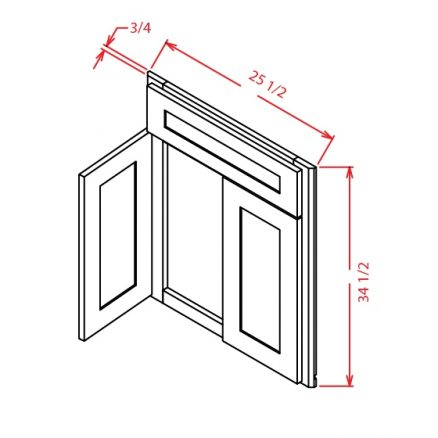 DCSF42 Diagonal Corner Sink Base Front Tacoma White