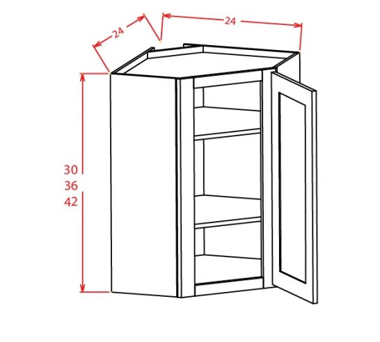 DCW2430GD Diagonal Corner Wall Cabinet with Open Door Frame 24 inch by 30 inch Tacoma White