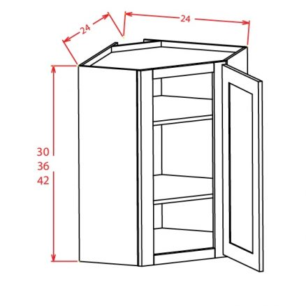 DCW2430 Diagonal Corner Wall Cabinet 24 inch by 36 inch Tacoma White