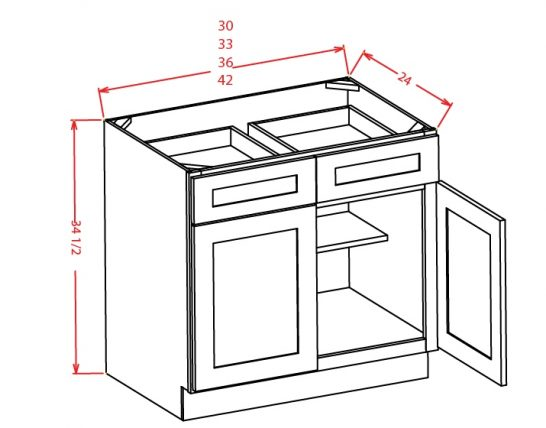 B36 Base Cabinet 36 inch Shaker Dusk