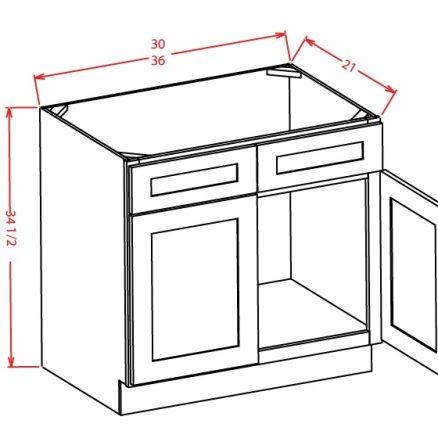 VS36 Vanity Sink Base Cabinet 36 inch Shaker Dusk