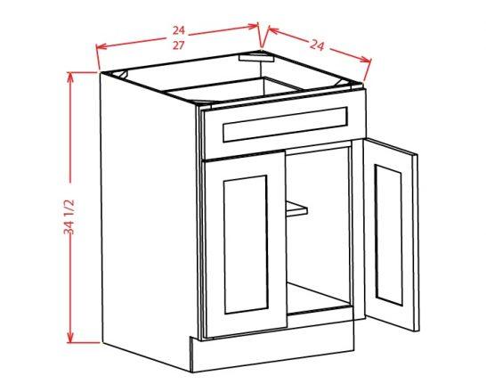 B24 Base Cabinet 24 inch Tacoma White
