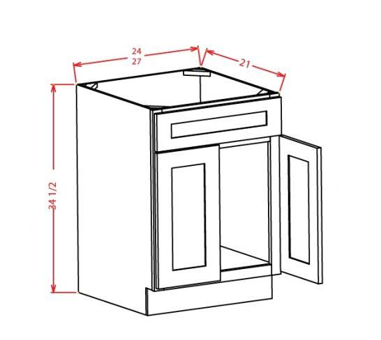 VS24 Vanity Sink Base Cabinet 24 inch Sheffileld White
