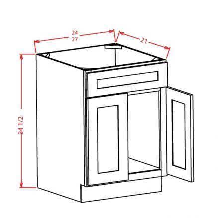 VS27 Vanity Sink Base Cabinet 27 inch Shaker Dusk
