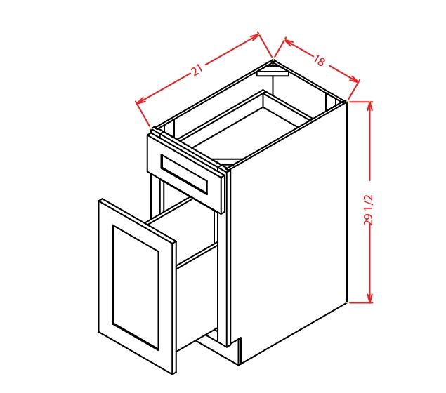 DFB18 Two Drawer File Base Cabinet 18 inch Shaker Dusk