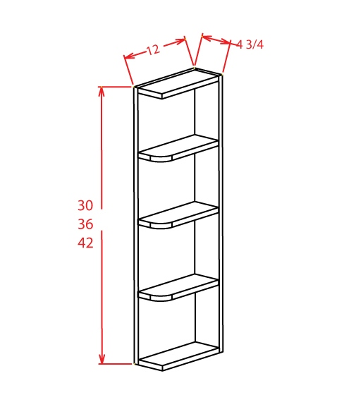 OE642 Wall End Shelf 6 inch by 42 inch Shaker Dusk