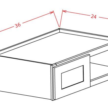 W362424 Bridge Cabinet 36 inch by 18 inch by 24 inch Shaker Dusk