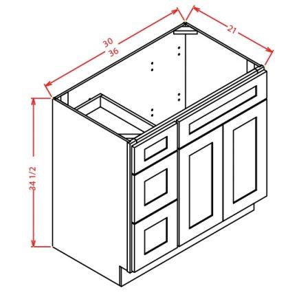 V3621DL Vanity Base Cabinet 36 inch Left Drawers Tacoma White