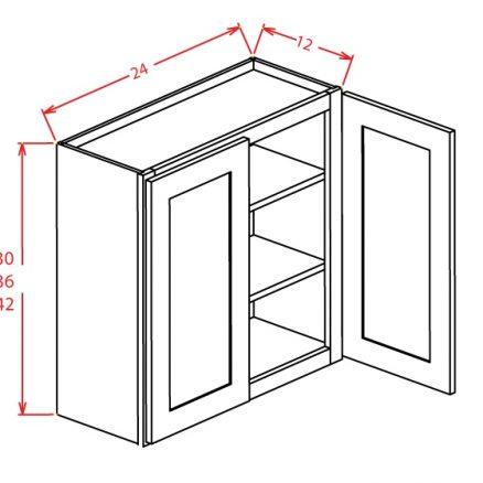 W2442GD Wall Cabinet 24 inch by 42 inch Shaker Dusk