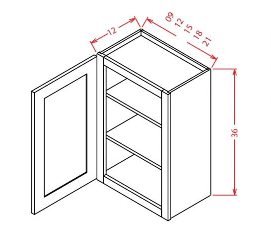 W1836 Wall Cabinet 18 inch by 36 inch Tacoma Dusk