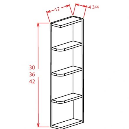 OE636 Wall End Shelf 6 inch by 36 inch Tacoma Dusk