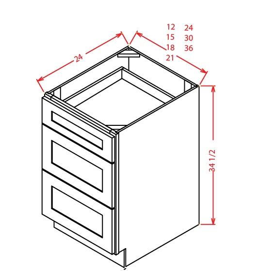 3DB12 3 Drawer Base Cabinet 12 inch Shaker Antique White