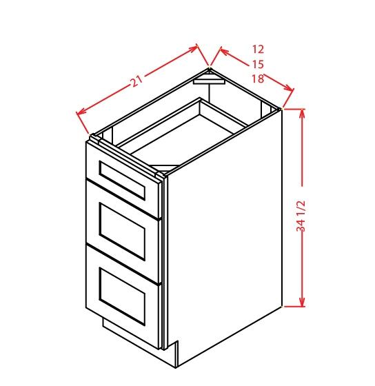 3VDB12 3 Drawer Vanity Base Cabinet 12 inch Shaker Antique White