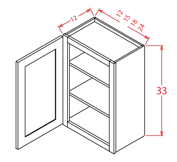 W3312 Bridge Cabinet 33 inch by 12 inch Sheffield White