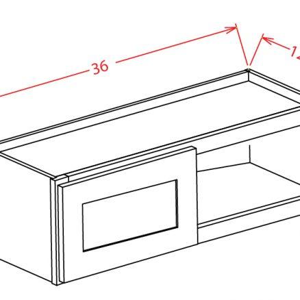 W3612 Bridge Cabinet 36 inch by 12 inch Shaker Antique White