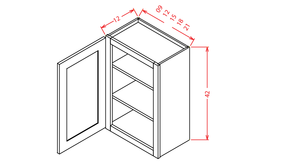 W1542 Wall Cabinet 15 inch by 42 inch Sheffield White