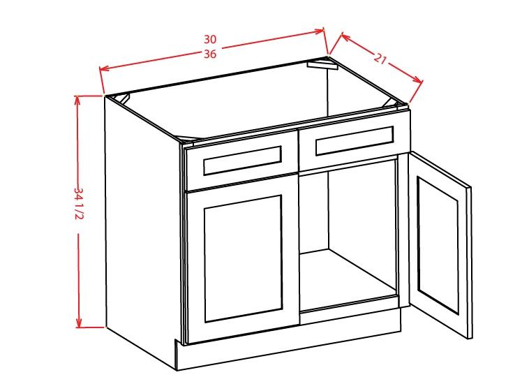 VS36 Vanity Sink Base Cabinet 36 inch Shaker Antique White