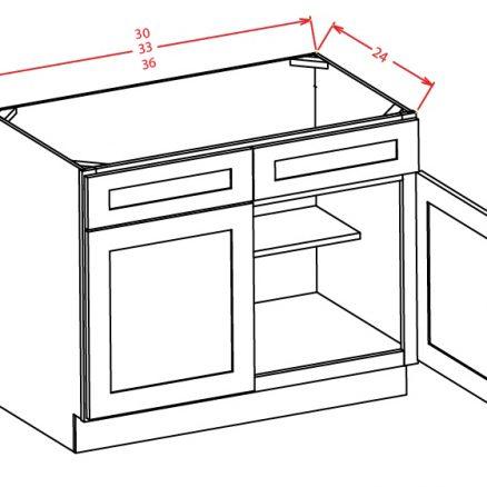 SB30 Sink Base Cabinet 30 inch Shaker Antique White