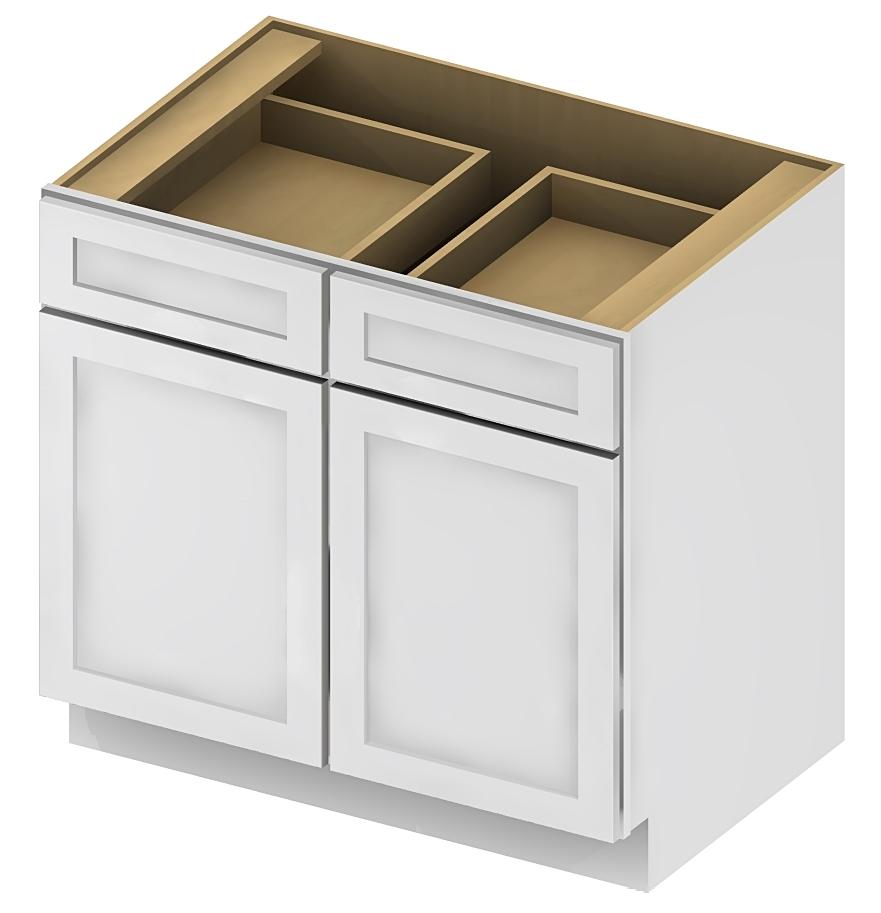 Cabinet Corp Shaker Dusk: Double Door Double Drawe Bases
