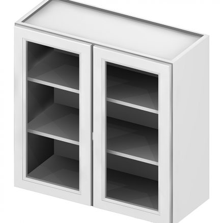 W2430GD Wall Cabinet with Open Door Frame 24 inch by 30 inch Shaker Antique White
