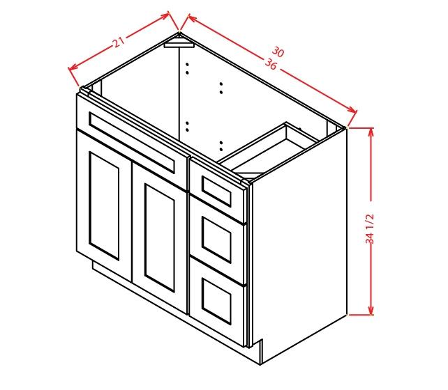 V3621DR Vanity Base Cabinet 36 inch Right Drawers Shaker Antique White